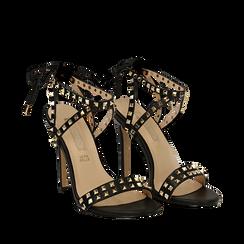 Sandali borchiati neri in eco-pelle, tacco 11,50 cm, Scarpe, 132131510EPNERO035, 002a