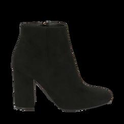 Ankle boots neri in microfibra, tacco 9 cm , Stivaletti, 142708221MFNERO036, 001a