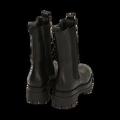 Bikers negros en piel de becerro, tacón 7,5 cm, Promozioni, 168900635VINERO036, 004 preview