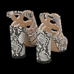 Sandali cage bianco/neri stampa pitone tacco 10,5 cm, Primadonna, 152760843PTBINE036, 004 preview