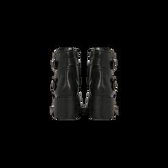 Biker neri con fibbie e tacco quadrato, Scarpe, 120618175EPNERO, 003 preview