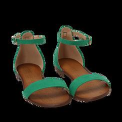 Sandali verdi in microfibra, Chaussures, 154903091MFVERD035, 002a