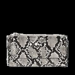 Portafogli bianco/nero in eco-pelle effetto snake skin, Borse, 132300002PTBINEUNI, 001a