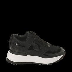 Sneakers nere glitter, suola 5,50 cm , Scarpe, 142898982GLNERO036, 001a