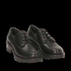 Stringate nere in eco-pelle , Scarpe, 140619206EPNERO035, 002a