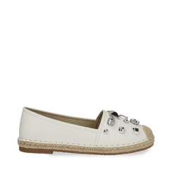 Espadrillas bianche in eco-pelle con gemme, Saldi, 134921159EPBIAN035, 001a