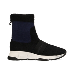 Sneakers nero-blu sock boots con suola in gomma bianca, Scarpe, 124109763TSNEBL, 001 preview
