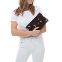 Pochette borchiata nera in microfibra, Borse, 133302219MFNEROUNI, 002a