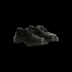 Francesine stringate nere, tacco basso casual, Scarpe, 122808656EPNERO, 002 preview