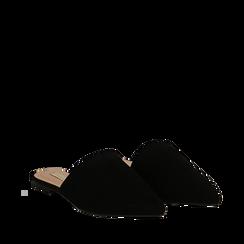 Mules flat nere in microfibra con punta affusolata, Scarpe, 134921861MFNERO035, 002a