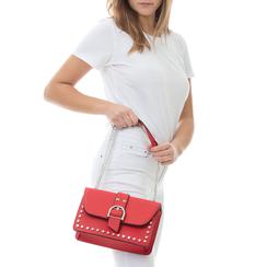 Borsa piccola rossa in eco-pelle con borchie, Borse, 132300503EPROSSUNI, 002a
