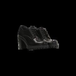Francesine stringate nere in vera pelle, tacco medio, Scarpe, 127723812PENERO, 002 preview