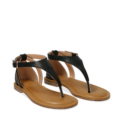Sandali infradito neri in eco-pelle, Primadonna, 134958215EPNERO036, 002a