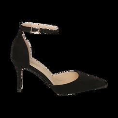 Escarpins avec une lanière en microfibre noir, talon de 9 cm, Chaussures, 152106617MFNERO036, 001 preview