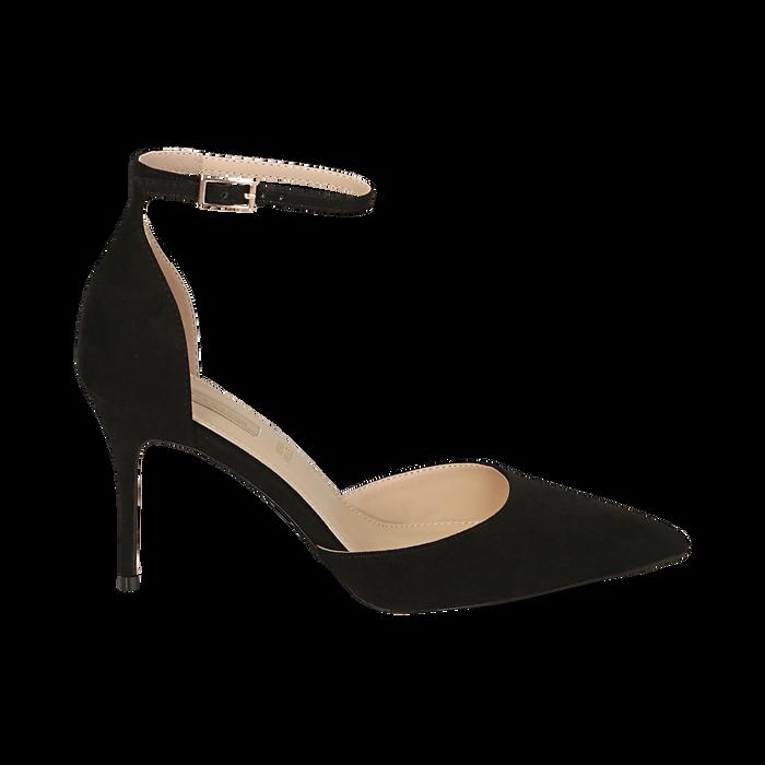 Escarpins avec une lanière en microfibre noir, talon de 9 cm, Chaussures, 152106617MFNERO036