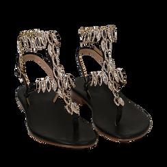 Sandali infradito gioiello neri, Chaussures, 154916801EPNERO036, 002a