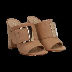 Mules open-toe nude in microfibra con fibbia, tacco 10 cm, Scarpe, 132760838MFNUDE035, 002 preview