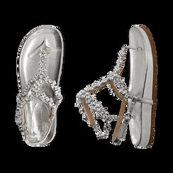 Sandali infradito gioiello argento in eco-pelle laminata, Chaussures, 154951992LMARGE036, 003 preview