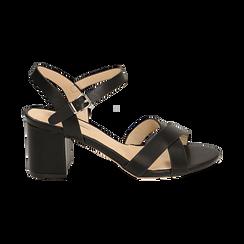Sandali neri in eco-pelle, tacco 7 cm , PROMOTIONS, 152990638EPNERO036, 001 preview