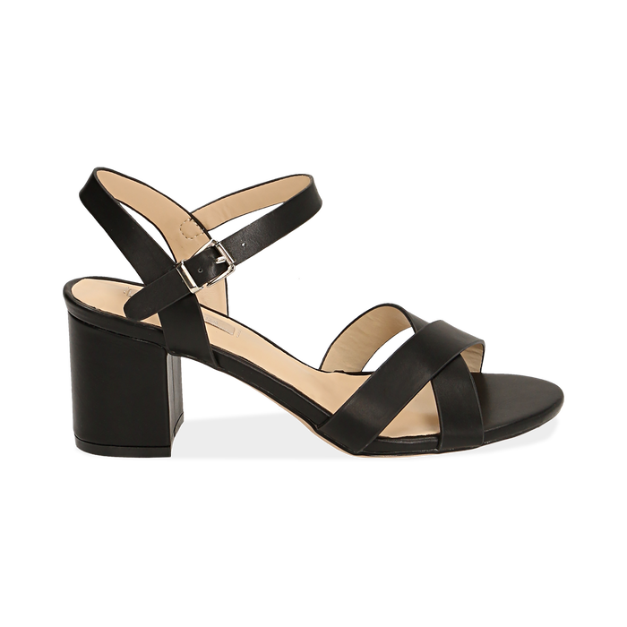 Sandali neri in eco-pelle, tacco 7 cm , PROMOTIONS, 152990638EPNERO036
