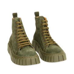 Sneakers verdi in camoscio, platform 4 cm , Primadonna, 18A504002CMVERD035, 002a