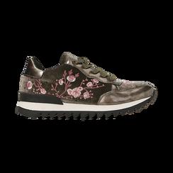 Sneakers taupe  con ricami floreali velluto, Scarpe, 121617734VLTAUP, 001 preview