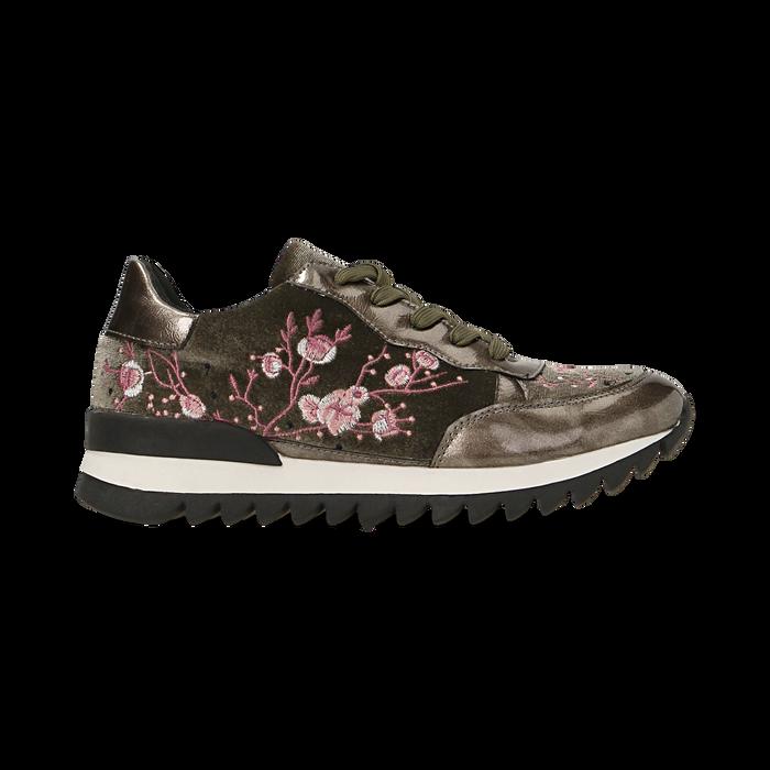 Sneakers taupe  con ricami floreali velluto, Scarpe, 121617734VLTAUP