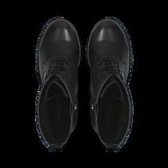 Anfibi neri con lacci e carrarmato, tacco 7 cm, Primadonna, 120800804EPNERO, 004 preview
