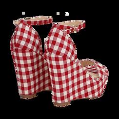 Sandali bianco/rossi in tessuto Vichy, zeppa 13 cm, Scarpe, 132117220TSBIRO035, 004 preview