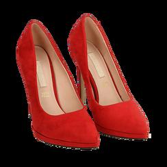 Décolleté rosse in microfibra con plateau, tacco 12 cm , Primadonna, 162106051MFROSS036, 002a