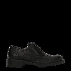 Francesine stringate nere, eco-pelle punzonata, Scarpe, 120618203EPNERO036, 001a