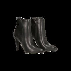 Tronchetti neri, tacco stiletto 8 cm, Scarpe, 124895652EPNERO035, 002