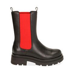 Chelsea boots noires/rouges, talon 5 cm , Primadonna, 180610101EPNERS035, 001a