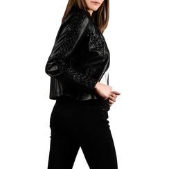 Biker jacket nera in eco-pelle, NUOVI ARRIVI, 156516115EPNEROL, 002 preview