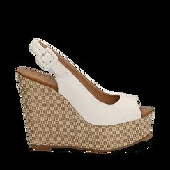 Sandali platform bianchi in eco-pelle, zeppa intrecciata 13 cm , Primadonna, 134907984EPBIAN035, 001a