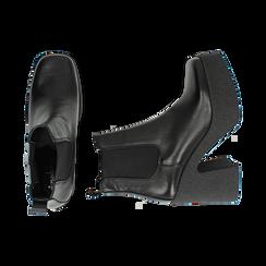 Ankle boots con plateau neri in pelle di vitello, tacco 11 cm , Primadonna, 160202020VINERO040, 003 preview