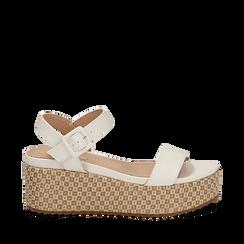 Sandali platform bianchi in eco-pelle, zeppa intrecciata 6,50 cm , Scarpe, 134938301EPBIAN035, 001a