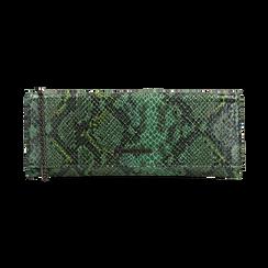 Pochette piatta verde in eco-pelle snake print, Primadonna, 145122510PTVERDUNI, 001 preview