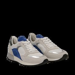 Sneakers bianche in vero camoscio dettagli blu con suola dentellata, Scarpe, 131602236CMBLUE035, 002a