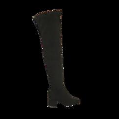 Stivali overknee neri in microfibra, tacco 6,50 cm, Primadonna, 164911283MFNERO036, 001a