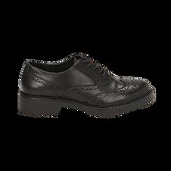 Stringate nere in eco-pelle con lavorazione Duilio, Scarpe, 140585751EPNERO035, 001 preview