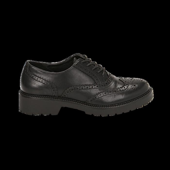 Stringate nere in eco-pelle con lavorazione Duilio, Scarpe, 140585751EPNERO035