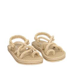 Sandales de plage en tissu beige, 170909002TSBEIG035, 002a