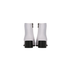 Tronchetti bianchi con zip, tacco medio 4,5 cm, Scarpe, 122752721EPBIAN, 003 preview