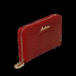Portafogli rosso in eco-pelle effetto cocco , Borse, 142200896CCROSSUNI, 002a