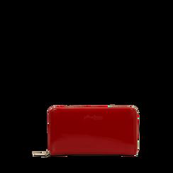 Portafoglio rosso in ecopelle vernice , Saldi, 122200896VEROSSUNI, 001a