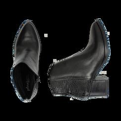 Camperos neri in pelle, tacco 6 cm , Stivaletti, 141612965PENERO036, 003 preview