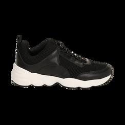 Dad shoes nere in tessuto tecnico, Scarpe, 133010051TSNERO036, 001 preview