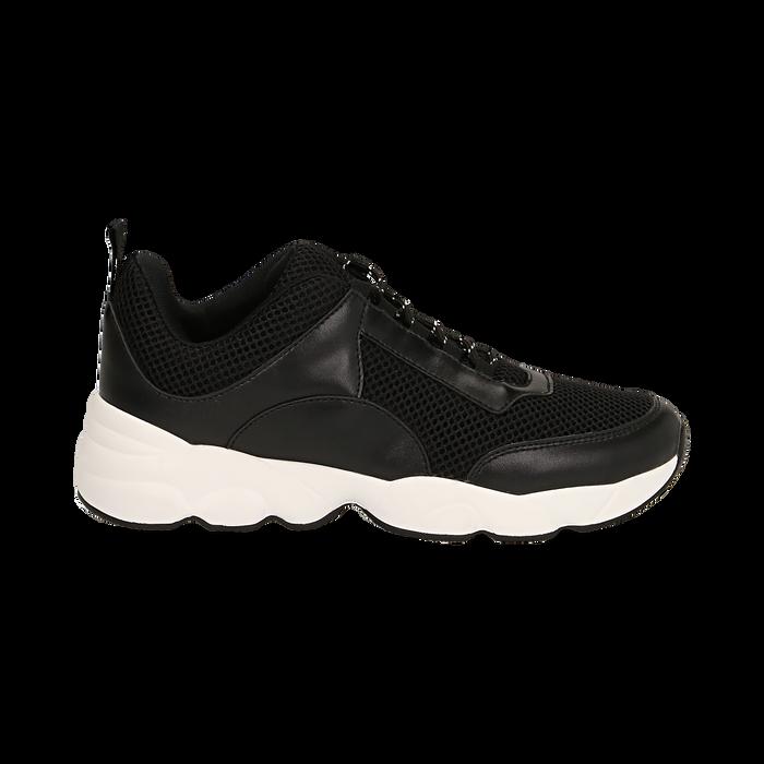 Dad shoes nere in tessuto tecnico, Scarpe, 133010051TSNERO036