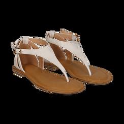 Sandali infradito bianchi in eco-pelle, Saldi Estivi, 134958215EPBIAN036, 002 preview